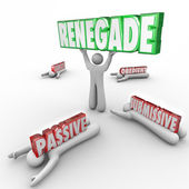 Renegade word in 3D letters lifted by a rebel — Stock Photo