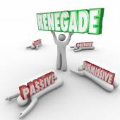 Renegade word in 3D letters lifted by a rebel — Foto de Stock
