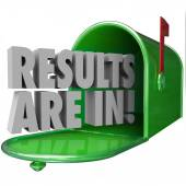 Results Are In 3d words in a green metal mailbox — Stock Photo