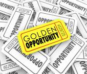Golden Opportunity words on a gold or yellow ticket — Stock Photo