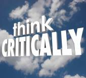 Think Critically words in 3d letters against a cloudy sky — Stok fotoğraf