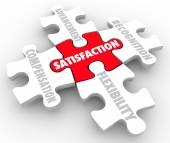 Job Satisfaction words on puzzle pieces — Stockfoto