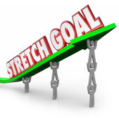 Stretch Goal words on an arrow lifted by a team of workers — Stock Photo