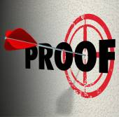 Proof word on a wall and target — Foto Stock