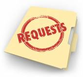 Requests word stamped on a manila folder — Stock Photo