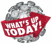 What's Up Today words on a red arrow around a ball — Stock Photo