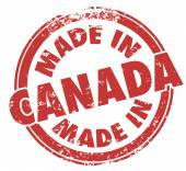 Made in Canada  words on a red round stamp — Stock Photo