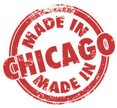 Made in Chicago words in a round red stamp — Stock Photo