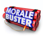 Morale Buster 3d words on a bundle of dynamite sticks — Stock Photo