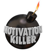 Motivation Killer 3d words on a round black bomb — Foto Stock