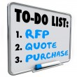 RFP, quote and purchase words written on a dry erase board — Stock Photo #61368957