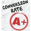 Conversion Rate words on lined student paper with a grade of A Plus — Stock Photo #61369077