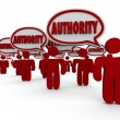 Authority word in speech bubbles above people or workers — Stock Photo #61369087