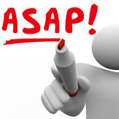 ASAP word written by man with red marker — Stock Photo