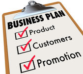 Business Plan words on a checklist on a clipboard — Stock Photo