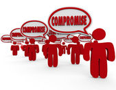 Compromise word in speech bubbles over heads of 3d people — Stock Photo