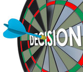 Decision word in 3d letters on a dart board — Stock Photo