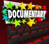 Documentary word on a cinema theater screen — Stock Photo