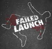 Failed Launch words on a chalk outline of a dead body — Stock Photo