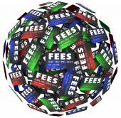 Fees words on credit cards — Stock Photo