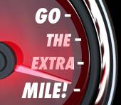 Go the Extra Mile words on a speedometer — Stock Photo