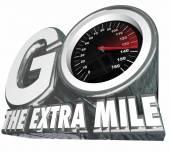 Go the Extra Mile words with speedometer — Stock Photo