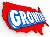 Growth 3d Word on a red United States of America map — Stock Photo