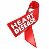 Heart Disease awareness red ribbon with 3d words — Stock Photo