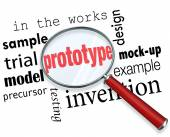 Prototype word under a magnifying glass — Stock Photo