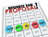 RFP Request for Proposal words on a bingo card — Stock Photo