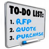RFP, quote and purchase words written on a dry erase board — Stock Photo