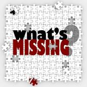 What's Missing words and question mark on a puzzle — Foto de Stock