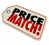 Price Match words on a store merchandise tag — Stock Photo