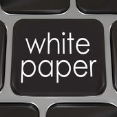 White paper words on a black computer keyboard key or button — Stock Photo