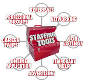 Staffing Tools 3d words in a red toolbox — Stock Photo