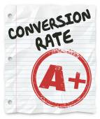 Conversion Rate words on lined student paper with a grade of A Plus — Stock Photo