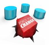 Force for Change words on a square peg pushed into a round hole — Stockfoto