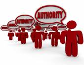 Authority word in speech bubbles above people or workers — Stock Photo