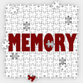 Memory word on puzzle pieces with holes — Stock Photo