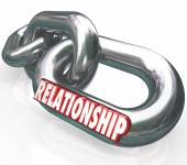Relationship word in 3d letters on metal chain links — Foto Stock