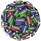 Buying Power words on credit cards in a ball — Foto de Stock