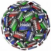 Buying Power words on credit cards in a ball — Stockfoto