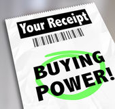 Buying Power words on your receipt for a purchase — Stockfoto