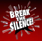 Break the Silence words in 3D letters — Stock Photo