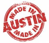 Made in Austin words in a round grunge style stamp — Foto Stock