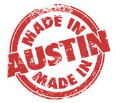 Made in Austin words in a round grunge style stamp — Stockfoto