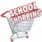 School Shopping 3d words in a shopping cart — Foto Stock