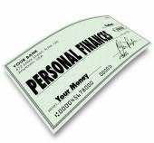 Personal Finances words on a check — Stock Photo