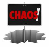 Chaos word on a sign in a hole — Stock Photo