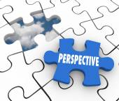 Perspective word on a puzzle piece — Stock Photo